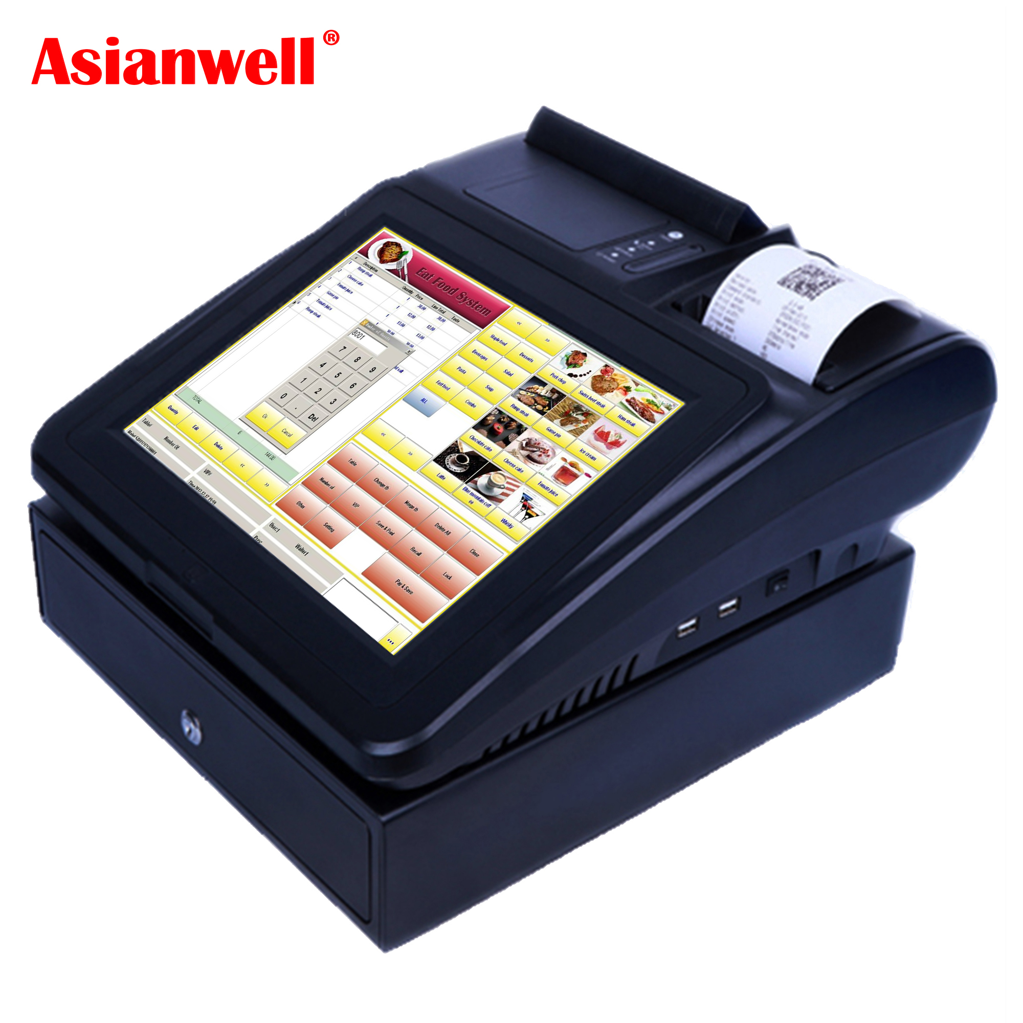 AW-I5 High quality touch 500gb hdd pos terminal 3g systems 12/17 inch touch system/pos machine/pos all in one with printer