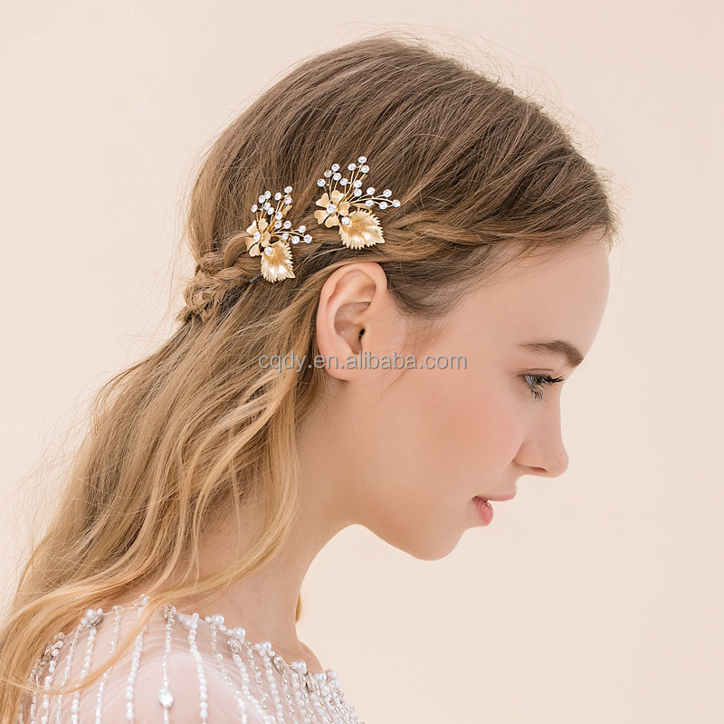 Bride Hair Accessories Head Jewelry Crystal Rhinestone Wedding Bridal  Golden Leaf Ornamental Hair Combs With Hairpin Clip - Buy Mixed Wholesale  ...