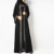 Free shipping  Luxury bell sleeve shoulder pad front opening black new model abaya in dubai kimono with beading pearls