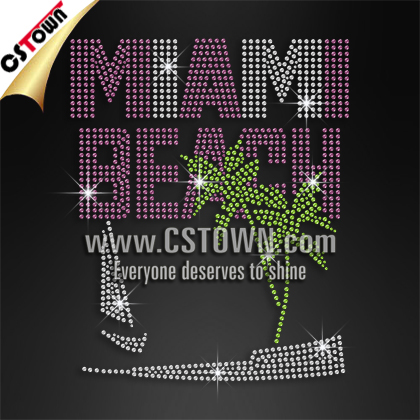 Miami Beach Rhinestone Letters Custom Iron ons for T Shirts