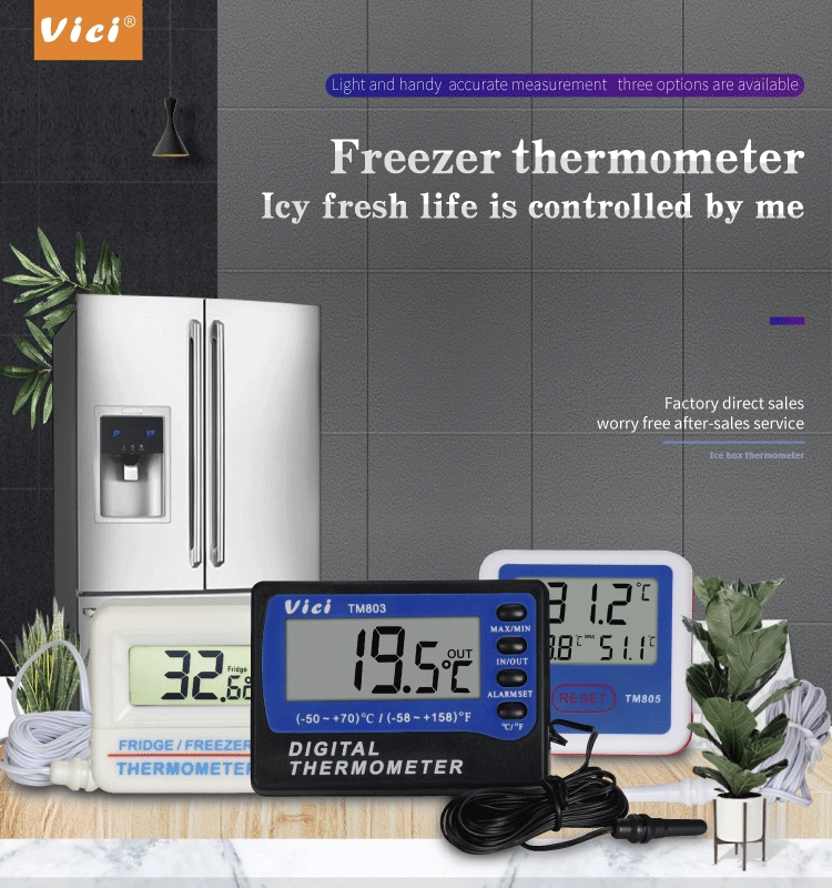 TM803 In/Out Door High/Low Temperature  Alarm Fridge Thermometer