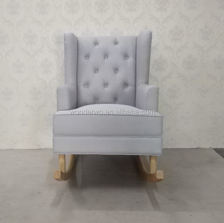 Modern Tufted Wingback Convertible Rocker wooden baby glider chair linen upholstered Rocking chair