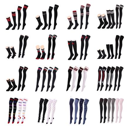 350555d216f Cotton letter and stripe japanese stockings teen girl knee high tube socks