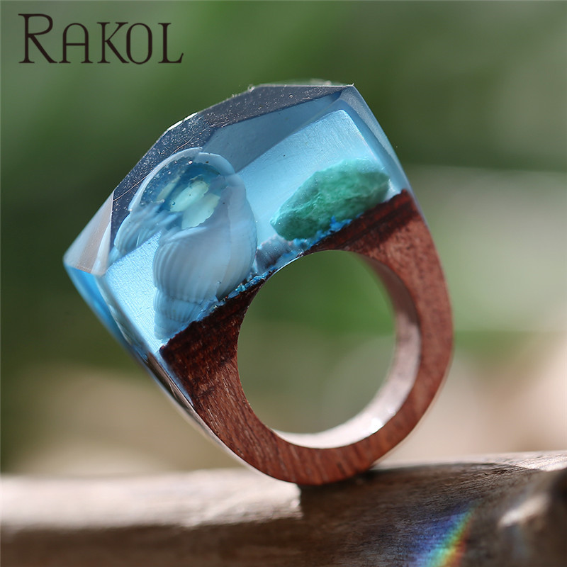 Rakol Beauty Blue Color Seabed Conch Natural Landscape Wood Resin Ring