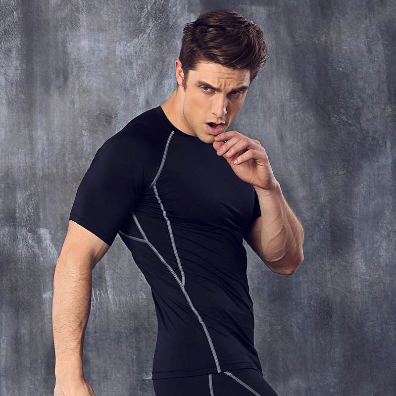 Men's Cool Dry Absorb Sweat Athletic Compression Short Sleeve T Shirts