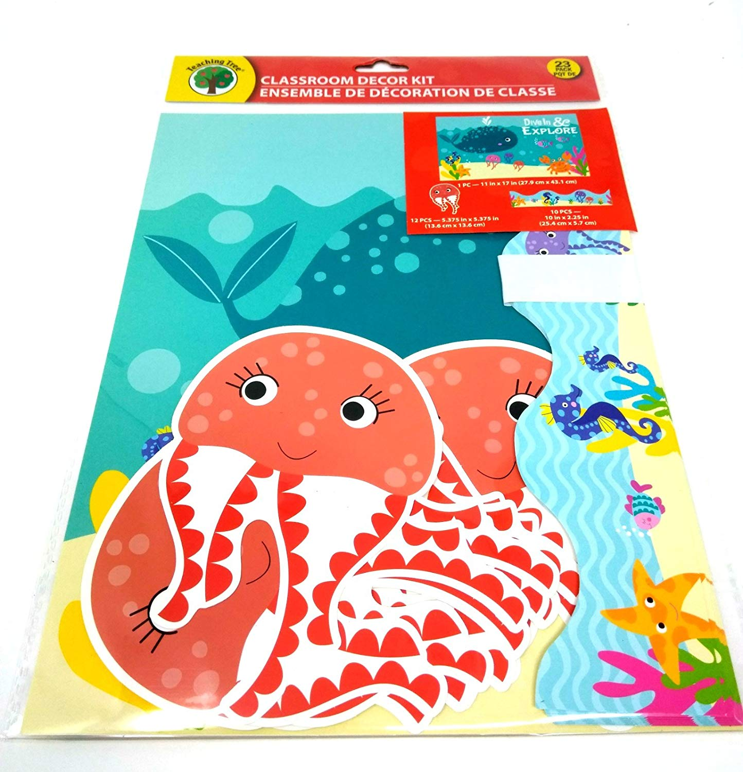 Back to School Elementary Middle High Junior School Classroom Teacher Supplies Teaching Tree Classroom Decor Kit Ocean Sea Creatures w/Border BONUS Cube