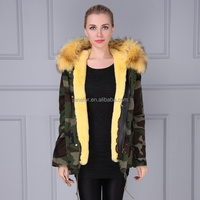 Hot new fashion parka style winter women camouflage coat with faux fur lining real raccoon fur hood trim