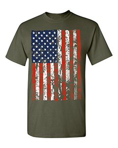 TS18032 Custom Made Wholesale Design Your Logo America Flag T Shirt, American Apparel 50/50 Made In China
