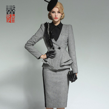 European Elegant Fashion Ladies 3 Pcs Dress Suit Plaid Style Buy