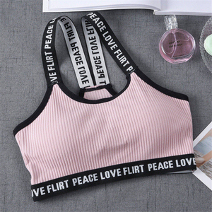One-piece Sport Cropped Top Bra Push Up Running Yoga Bra Cotton Letters Sport Tops For Women Gym Wear