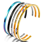 Fashion Rainbow Jewelry Hand Stamped Stainless Steel Custom Stamp Engraving Cuff Bangle Motivation Bracelet