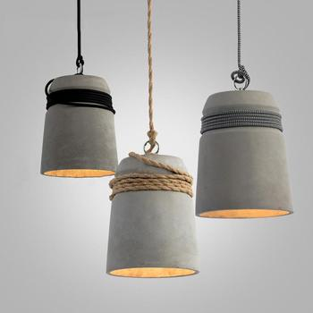 Concrete Cord Wrapped Monolith Minimalist Chandelier Pendant Light