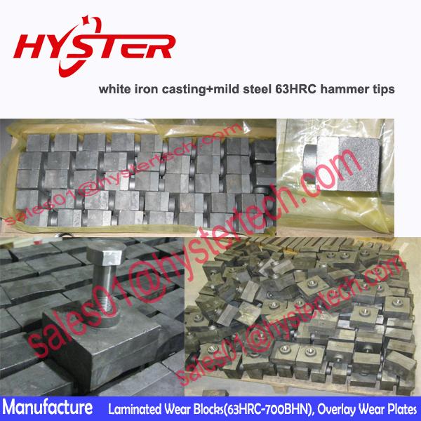 Domite Laminated Hammer Tips Bimetallic Hammer Casting In Crushing ...