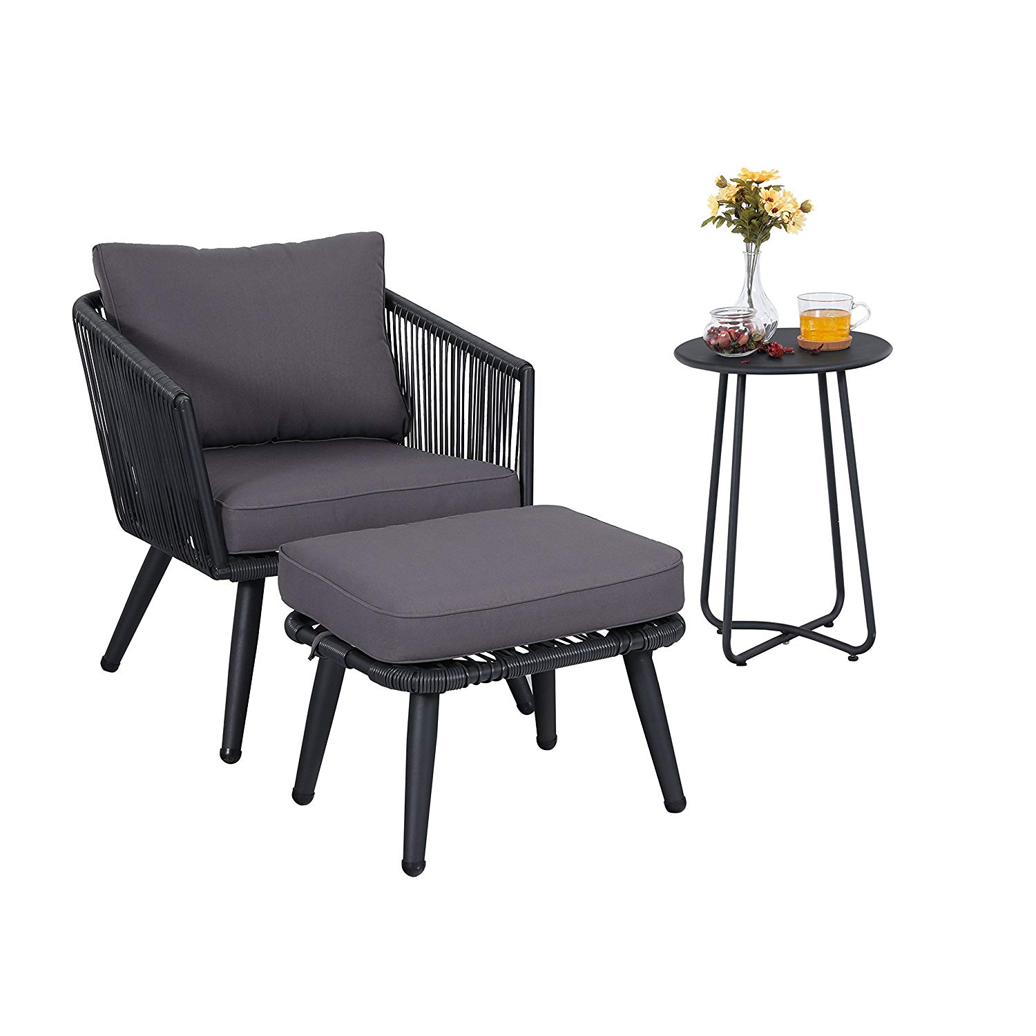 Get quotations · phi villa 3 piece rattan patio furniture set grey