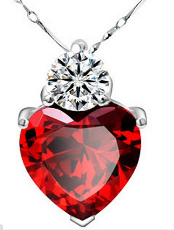 Heart Ruby Pendant Fine Jewelry  Necklaces&Pendant  925 Sterling SIlver Statement Necklace Women Accessories