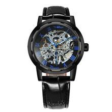 WINNER официальные мужские модные часы, брендовые роскошные золотые механические часы с скелетом, мужские Классические наручные часы с кожаны...(Китай)