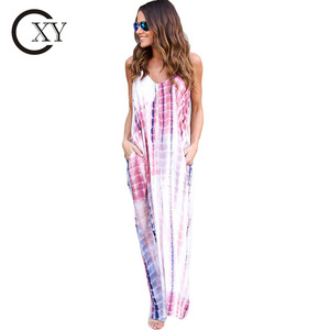 Customize multi color tie dye print boho pocketed long maxi dress 2018
