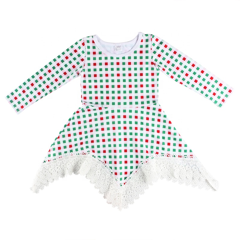 Hot Sale Christmas Kids Clothes Long Sleeve Lattice Design Girls Dress Tunic Lace Design Casual Girls Dress