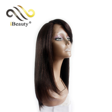 Human hair long straight pose side part lace front wig with bang
