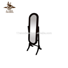 Oval shape wooden full-length floor stand dressing mirror