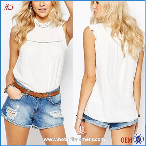 fashion clothing 2016 lady casual women cotton lace neck designs for ladies tops