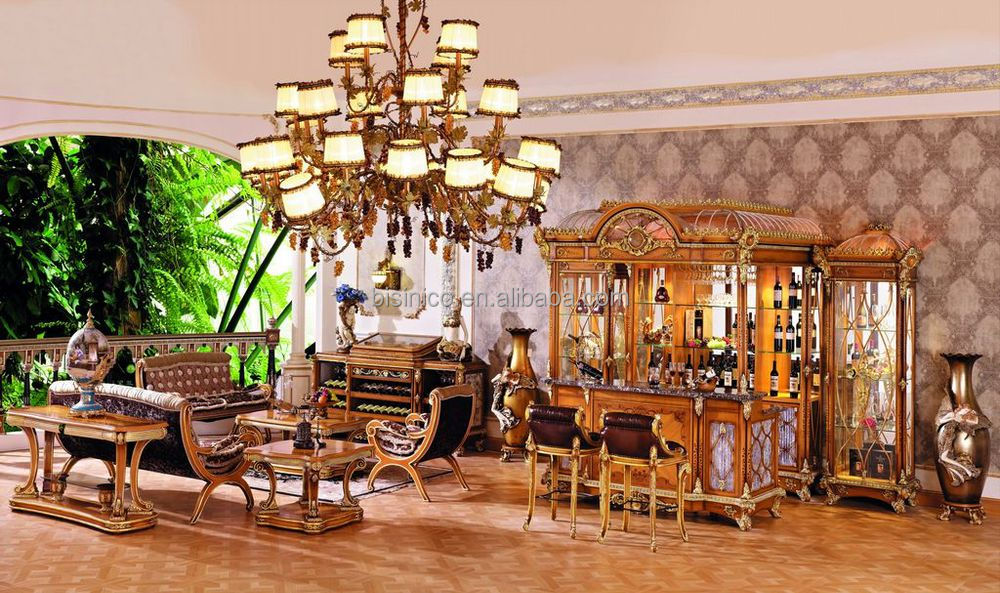 Luxury French Baroque Style Bar Furniture /European Classic Hand Carved  Wooden Bar/Antique Bar