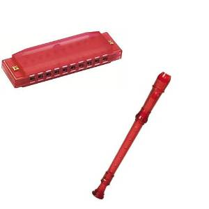 My First Recorder / Harmonica Pack -BPA FREE Red Translucent Recorder w/Red Hohner Harmonica
