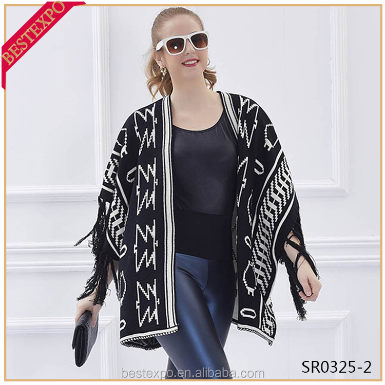 latest design knitted shawls wraps modern fringe black blanket cloak fashion womencape coat