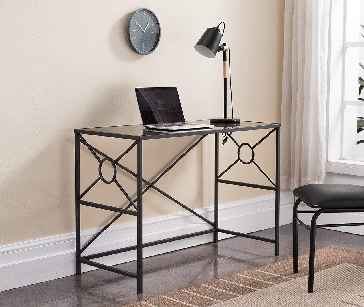 Kings Brand Furniture – Black, Brushed Copper Metal with Tempered Glass Home & Office Computer Desk