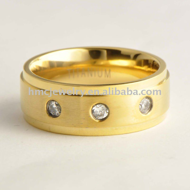 Diamond Titanium Bands, Titanium Wedding Rings with 14k Yellow Gold Inlaid, Titanium Rings