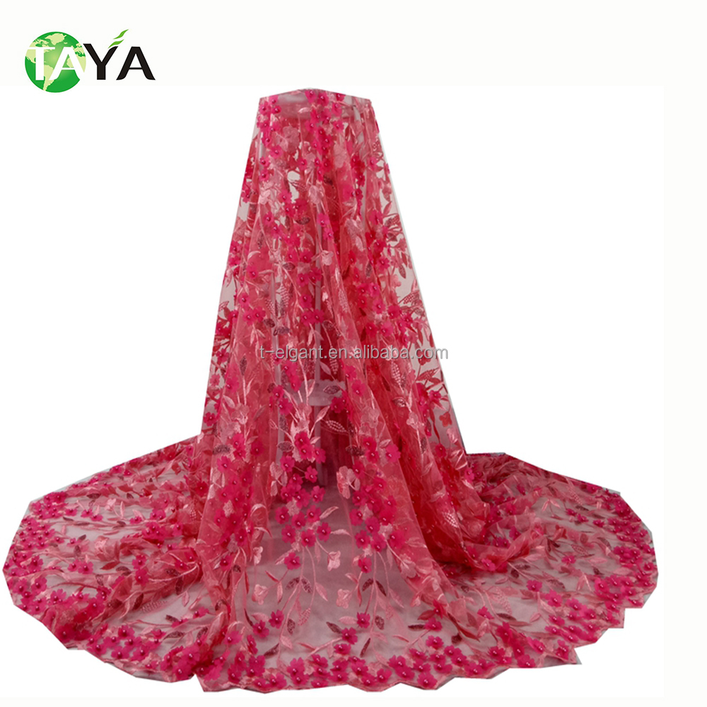 New Design Peach Color 3d Flower Lace African Tulle Lace with Embroidery