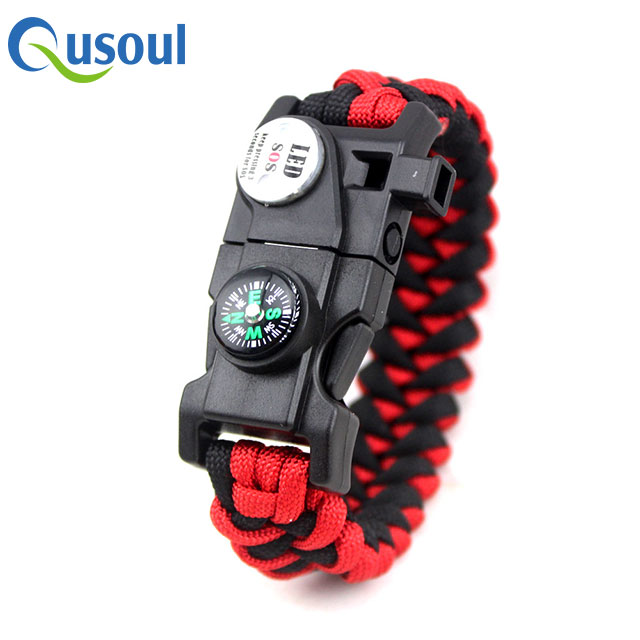 Materiaal Flint En Staal Rood Zwart Survival Armband Maker, multifunctionele Outdoor Survival Paracord Armband