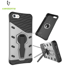 (NEW) For iPhone 5 Armor 2-in-1 PC + TPU Kickstand Phone Bags, Mobile Phone Cases