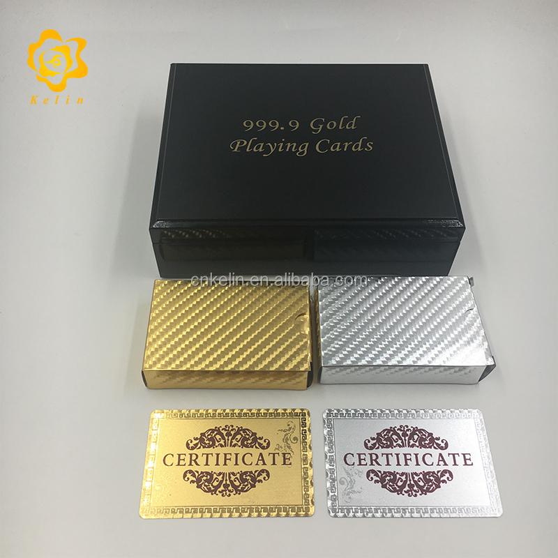 Custom Mosaic Gold And Silver Foil Plated Playing Card set With Wooden Box