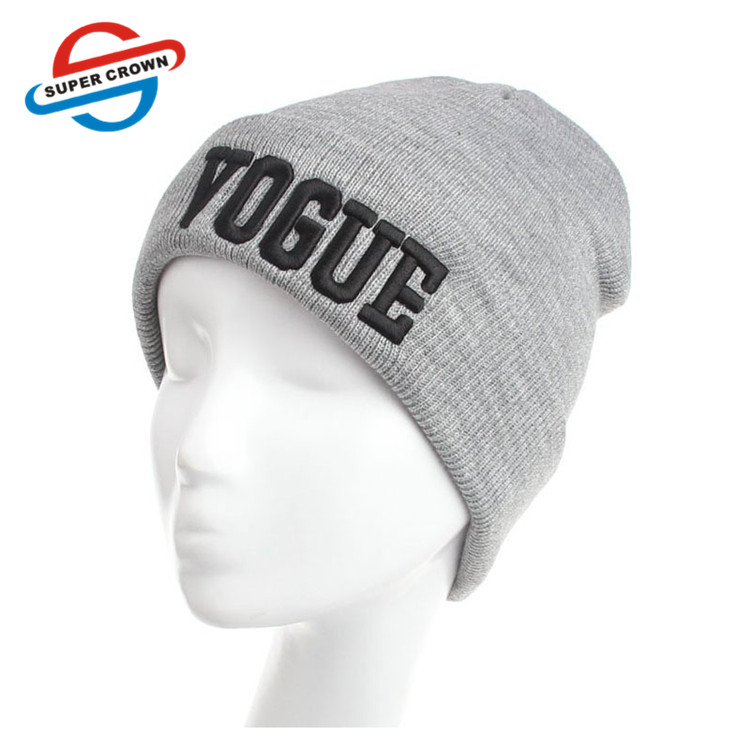 Winter warm Wholesale Vogue Acrylic Beanie With Fleece Lining embroidery cuff custom your own logo beanies