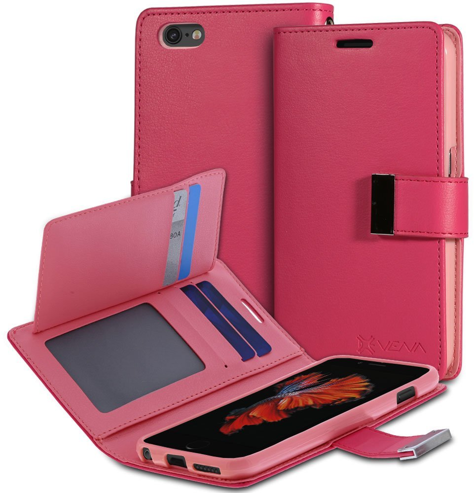 """iPhone 6S Wallet Case - VENA [vDiary] Slim Tri-Fold Leather Wallet Case with Stand Flip Cover for Apple iPhone 6S / iPhone 6 (4.7"""") - Hot Pink & Light Pink"""