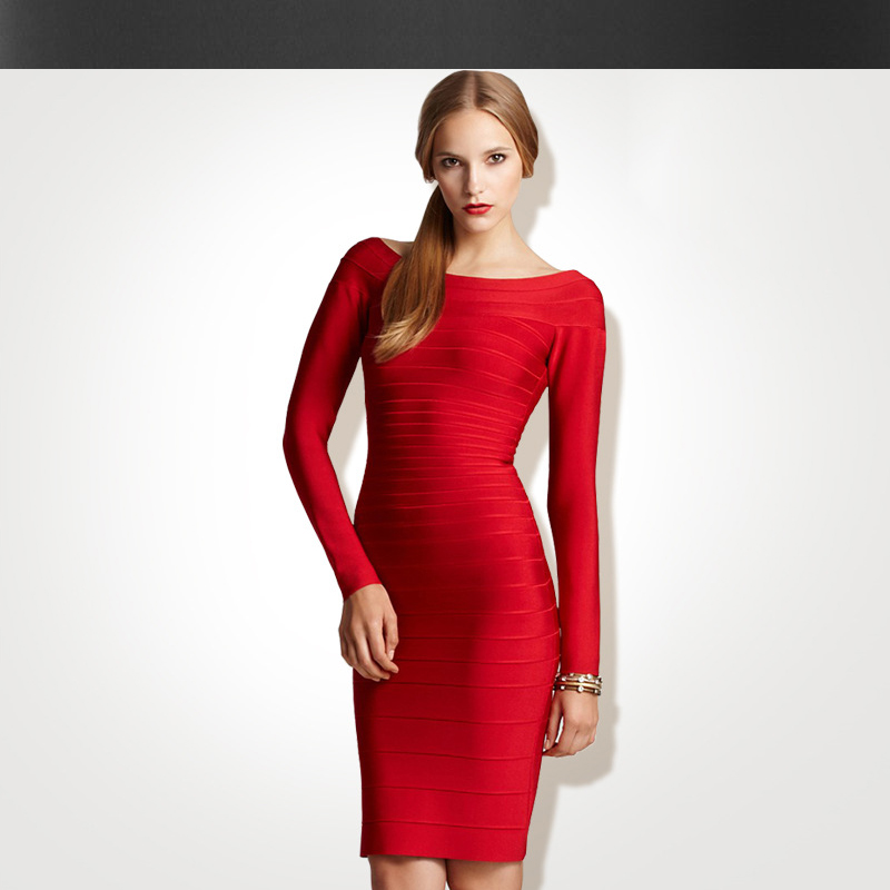 Bandage dress autumn /winter dresses women's new long-sleeved dress star with the word shoulder Slim package hip dress