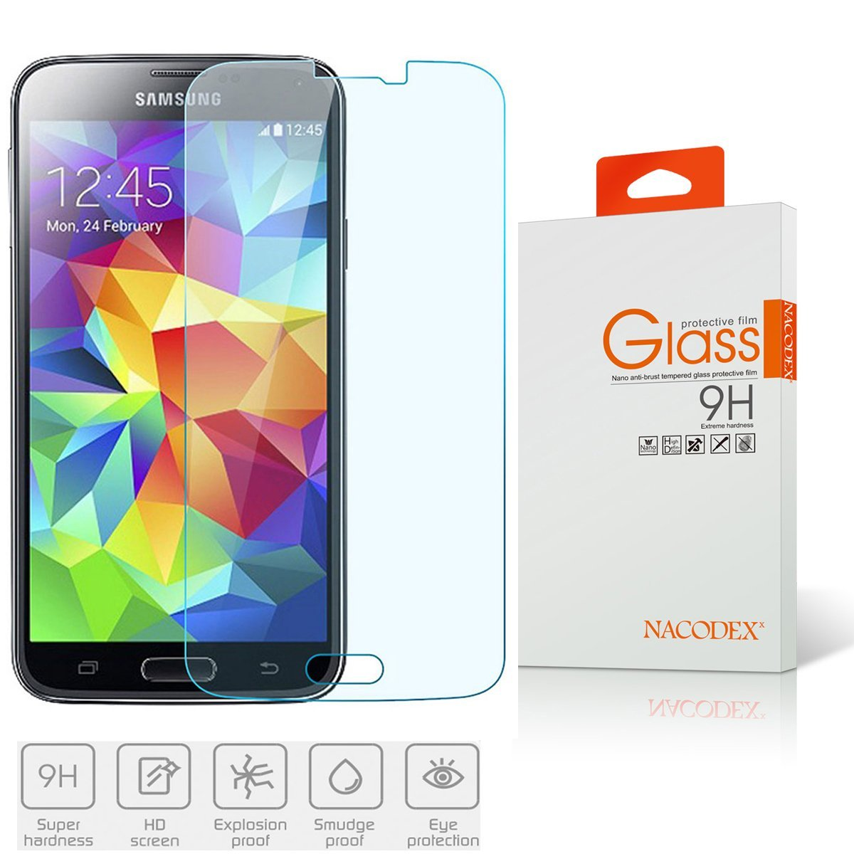Nacodex® - Samsung Galaxy S5 - 9h Hardness Premium Tempered Glass Screen Protector Real Explosion-proof for Samsung Sv S V Sm-g900 [ New in Box ]