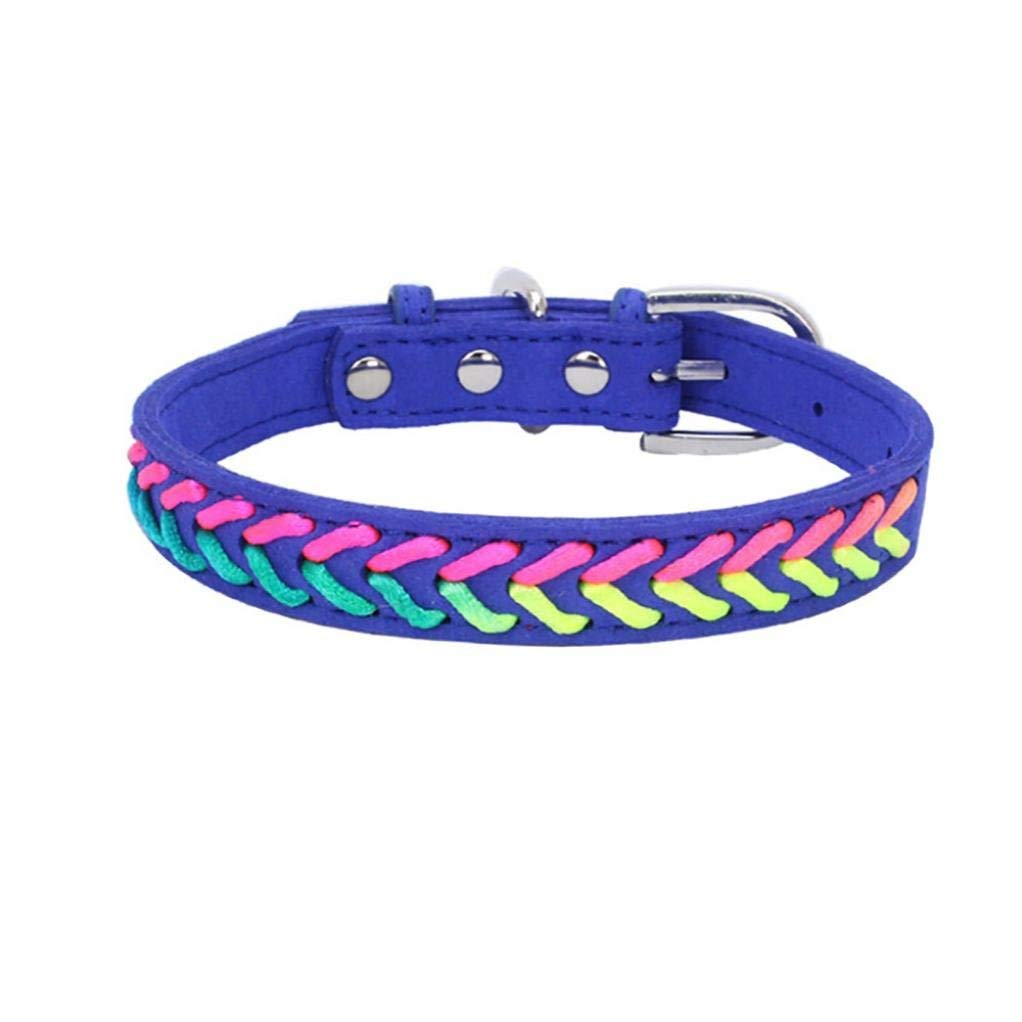 Axchongery Pet Collar,Exquisite Adjustable Dog Necklace Puppy Colorful Rope Chain (Blue, S = 361.5CM)