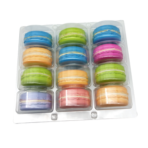 12pcs Food Grade Clear PET Plastic Macaron Cake Packaging Tray