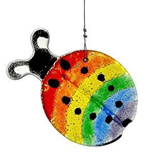 Modern Artisans Rainbow Ladybug Fused Glass Sun Catcher, Handmade in USA