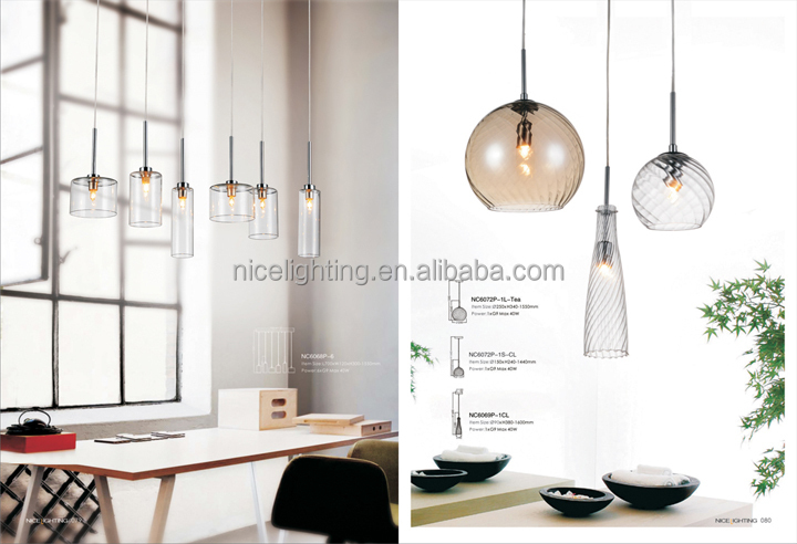 Decorative 6 Lights Hand Blown Clear Glass Pendant Light New ...