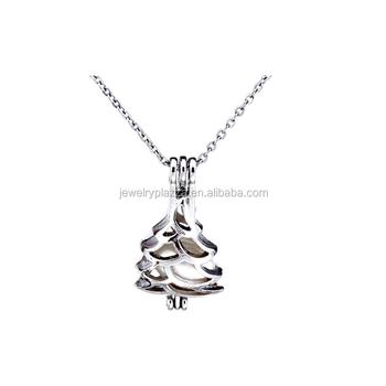 Xmas jewelry 925 sterling silver christmas tree pearl cage pendant xmas jewelry 925 sterling silver christmas tree pearl cage pendant fit 6 8mm essential oil aloadofball Choice Image