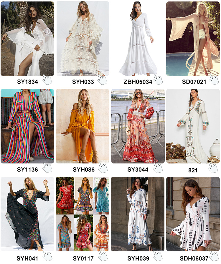 2019 Summer Fashion Sexy Deep V neck Printed Buttoned Beach Bohemian Tassels Bow Clothing Maxi Long Dress