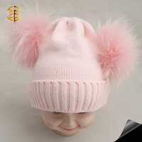 Top lovely pink color child hats for babies with 13CM large raccoon fur pom pom baby winter hats