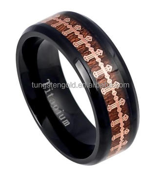 Black Anium Costume Jewelry Koa Wood Inlay Wedding Bands Gold Cross King Crown Ring