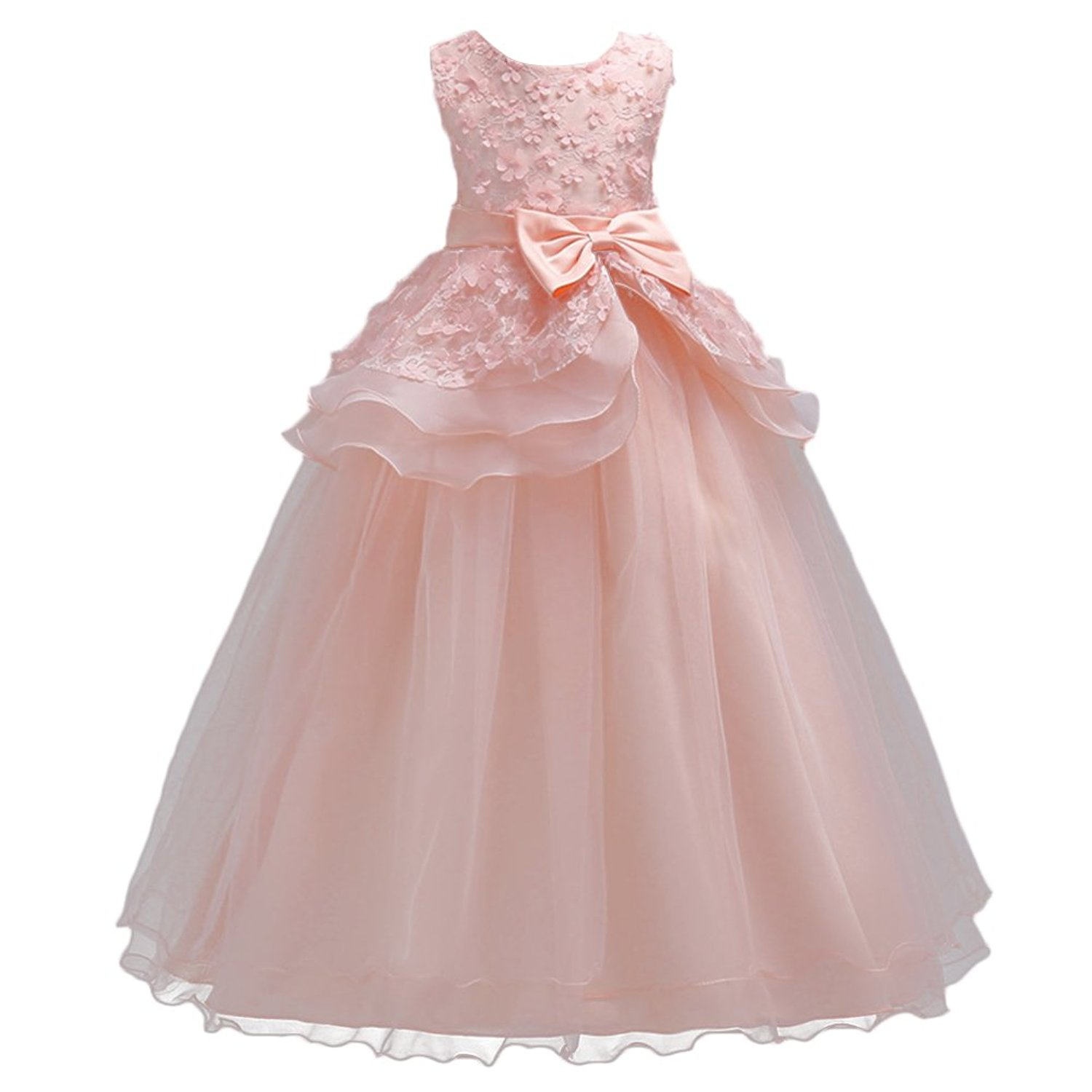 FYMNSI Flower Girls Bowknot Dress Wedding Communion Evening Birthday Party Princess Bridesmaid Wedding Dress 5-16T