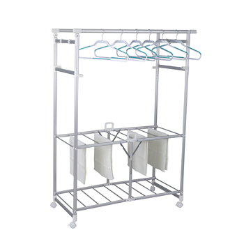 Aluminum 3 tier multi foldable clothes drying hanger  towel shoes rack with wheels