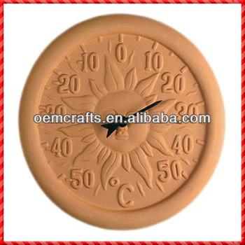 Decorative Round Terracotta Digital Sun Garden Wall Thermometer