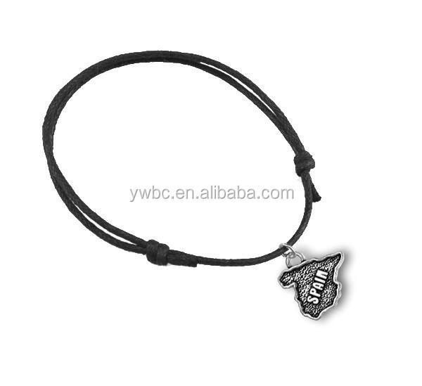 a4523356b085 De aleación de Zinc chapado en plata antigua España Mapa forma Cable de  cera encanto pulsera